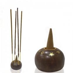 Quemador de conos e inciensos madera forma ovalada