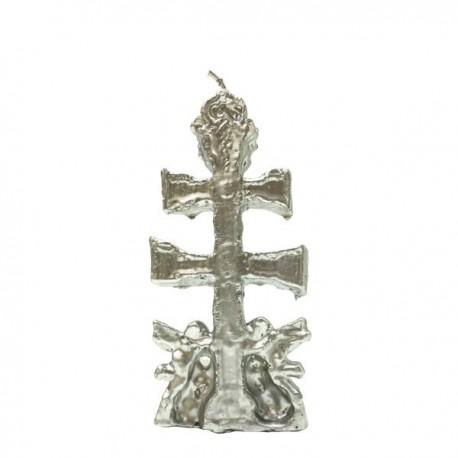 Vela plata con forma Cruz de Caravaca