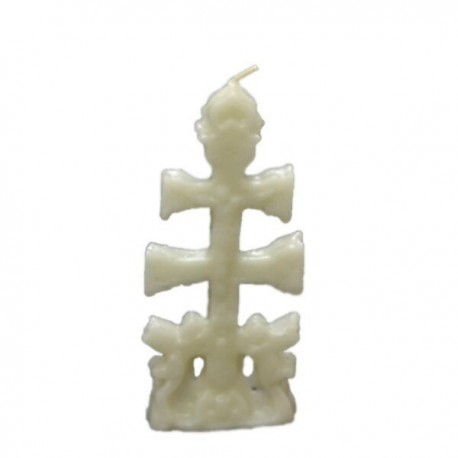 Vela blanca con forma Cruz de Caravaca