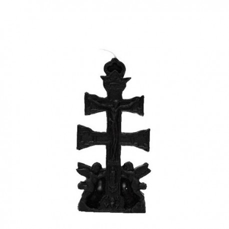 Vela negra con forma Cruz de Caravaca
