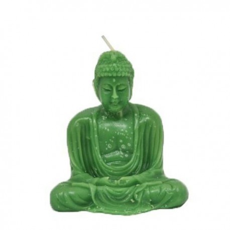 Vela verde con forma de Buda