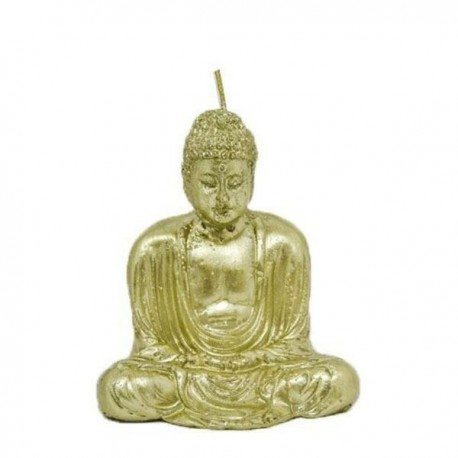 Vela dorada con forma de Buda