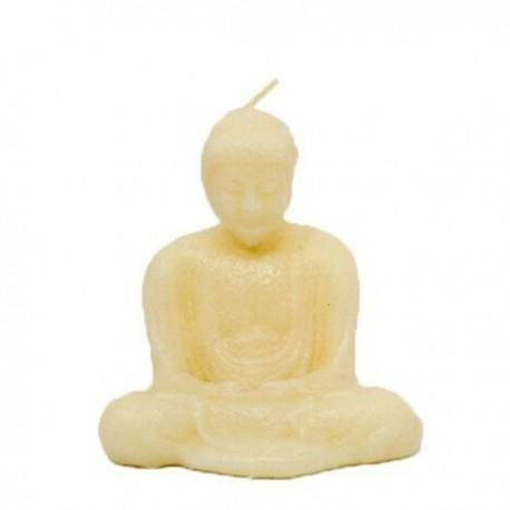 Vela blanca con forma de Buda
