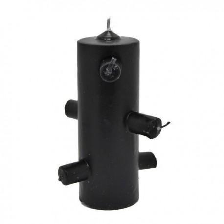 Velón 7 Mechas Negro 6 x 15 cm