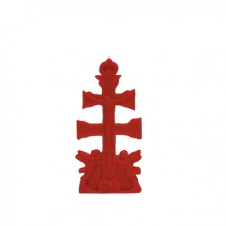 Vela Roja con forma Cruz de Caravaca