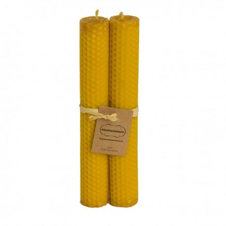 Pack 2 Velas Cera Virgen 100% panal (2,5 cm x 20 cm)